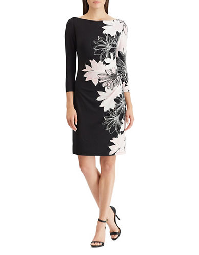 Chaps Floral Jersey Dress-BLACK-X-Small