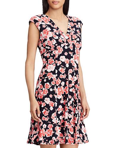 Chaps Floral-Print Surplice Dress 90121709