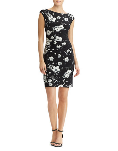Lauren Ralph Lauren Cap-Sleeve Floral Day Dress-NAVY-2
