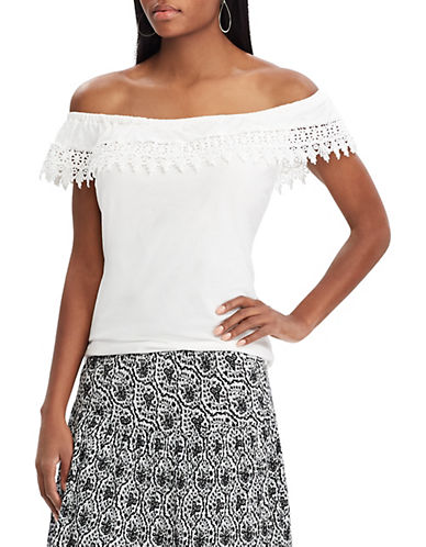 Chaps Lace-Trim Off-The-Shoulder Top-WHITE-X-Large 90066298_WHITE_X-Large