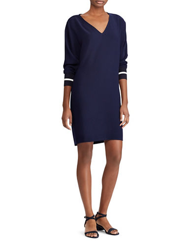 Lauren Ralph Lauren Crepe Shift Dress-NAVY-4