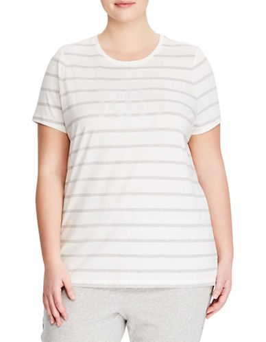 Lauren Ralph Lauren Plus Striped Short-Sleeve Tee-WHITE-2X 89857989_WHITE_2X