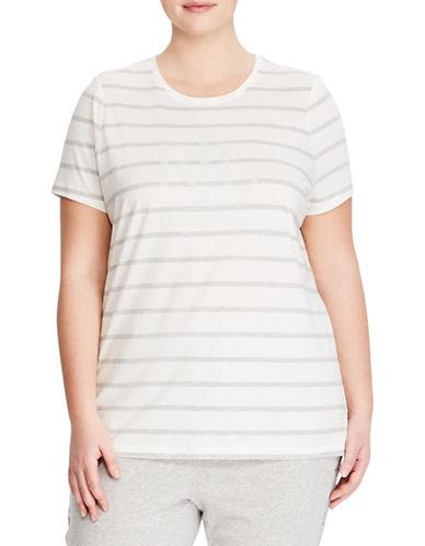 Lauren Ralph Lauren Plus Striped Short-Sleeve Tee-WHITE-1X 89857987_WHITE_1X