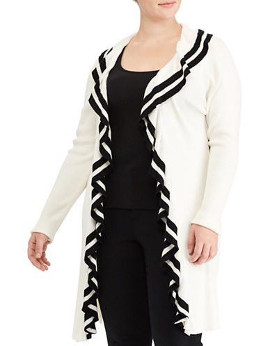 Lauren Ralph Lauren Plus Ruffled Open-Front Cardigan-WHITE-2X