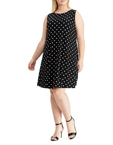 Chaps Polka-Dot Jersey Sheath Dress-BLACK-20W