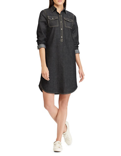 Chaps Petite Denim Shirtdress-BLACK-Petite X-Large