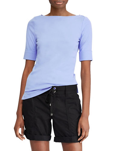 Lauren Ralph Lauren Cotton Boatneck T-Shirt-LIGHT SKY BLUE-X-Large