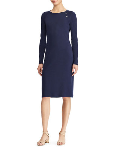 Lauren Ralph Lauren Button-Trim Cotton Dress-NAVY-Medium