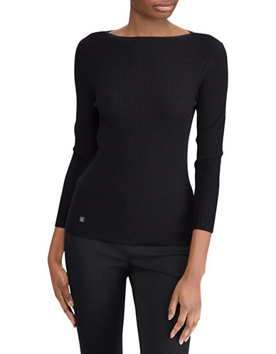 Lauren Ralph Lauren Cotton-Blend Boatneck Sweater-BLACK-Large