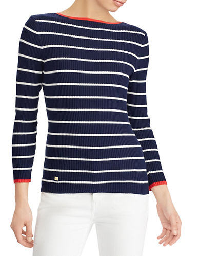 Lauren Ralph Lauren Striped Boat Neck Sweater-NAVY-Medium