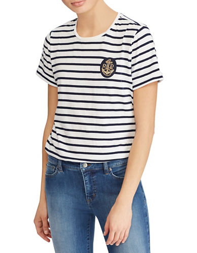 Lauren Ralph Lauren Bullion-Patch Striped Tee-WHITE/NAVY-X-Small