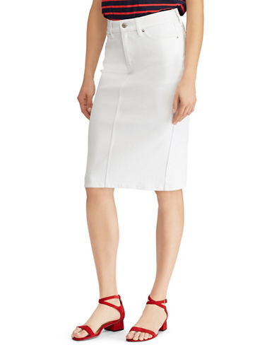 Lauren Ralph Lauren Denim Straight Knee-Length Skirt-WHITE-2