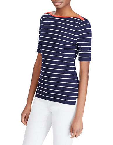 Lauren Ralph Lauren Petite Striped Cotton Boatneck Top-NAVY-Petite Large