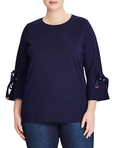 Lauren Ralph Lauren Plus Jersey Bell-Sleeve Top-NAVY-2X