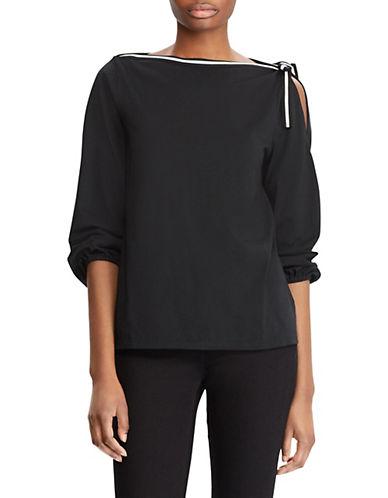 Lauren Ralph Lauren Slit-Shoulder Cotton Blouse-BLACK-X-Small 89955962_BLACK_X-Small