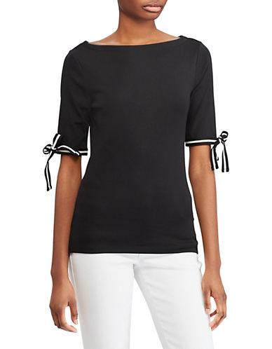 Lauren Ralph Lauren Tie-Sleeve Boat Neck Top-BLACK-Medium 89956211_BLACK_Medium