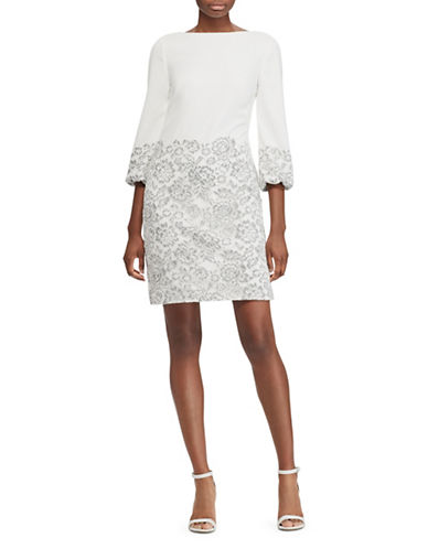 Lauren Ralph Lauren Lace-Overlay Crepe Dress-IVORY-8