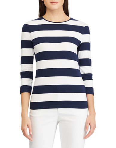 Chaps Striped Jersey Top-NAVY-Medium