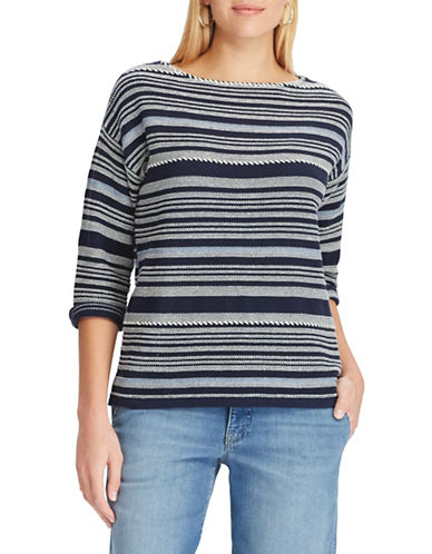 Chaps Striped Cotton-Blend Sweater-NAVY-X-Large