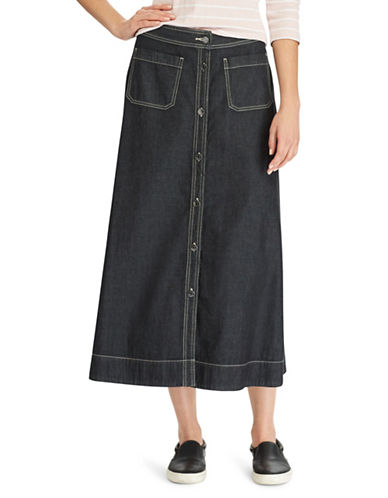 Chaps Denim A-Line Maxi Skirt-BLACK-14