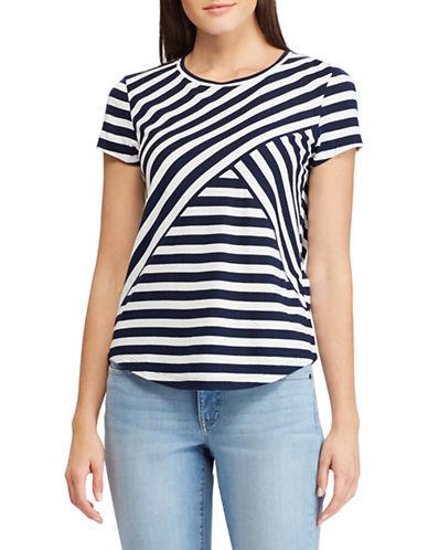 Chaps Petite Striped Jersey T-Shirt-NAVY-Petite Small