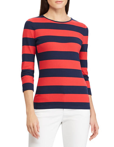 Chaps Petite Striped Jersey Tee-RED-Petite X-Small