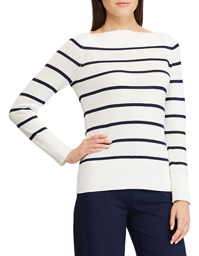 Chaps Petite Striped Boat Neck Sweater-WHITE-Petite X-Small