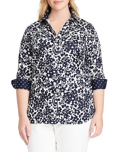 Chaps Plus No-Iron Floral Cotton Shirt-NAVY-1X
