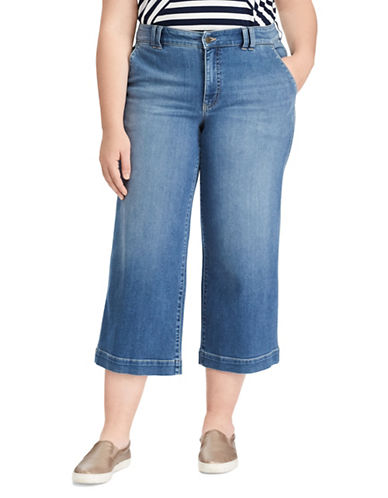 Chaps Plus Wide-Leg Stretch Capri Jeans-BLUE-18W