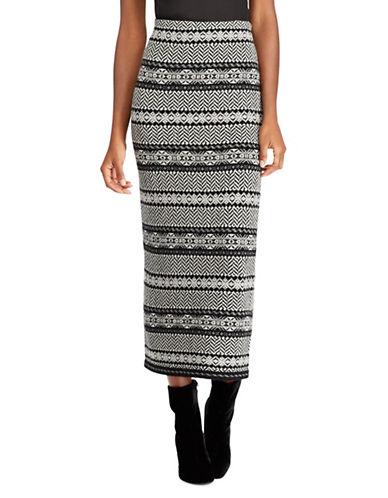 Lauren Ralph Lauren Fair Isle Wool and Cashmere Skirt-BLACK-Large