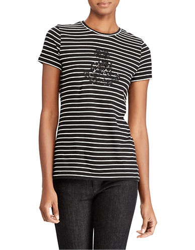 Lauren Ralph Lauren Striped Jersey Tee-BLACK-X-Large