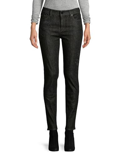 Lauren Ralph Lauren Petite Embroidery Skinny Jeans-BLACK-Petite 2