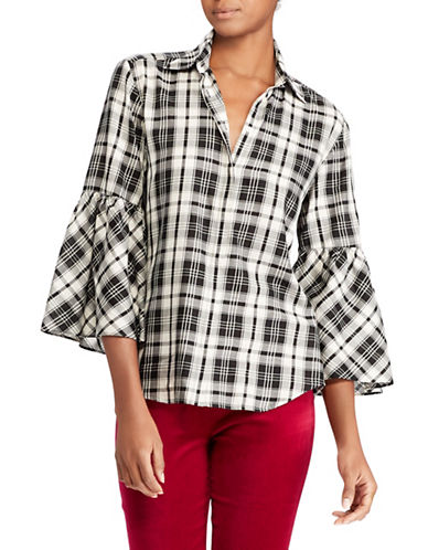 Lauren Ralph Lauren Petite Plaid Bell Sleeve Cotton Shirt-BLACK MULTI-Petite Large