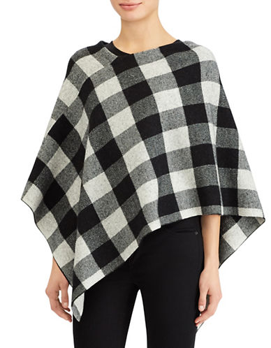 Lauren Ralph Lauren Petite Buffalo Plaid Merino Wool Poncho-BLACK MULTI-Petite Medium