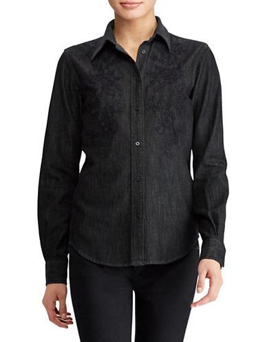 Lauren Ralph Lauren Plus Floral Cotton Button-Down Shirt-BLACK-1X