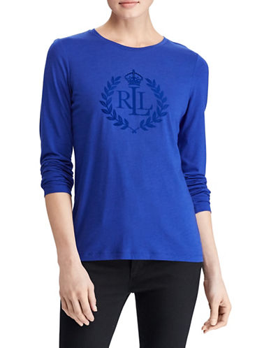 Lauren Ralph Lauren Long Sleeve Embroidered Logo Tee-BLUE-Large