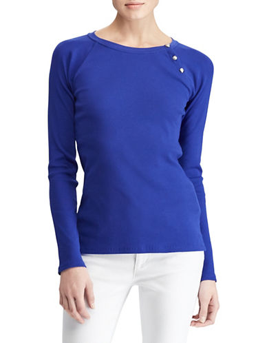 Lauren Ralph Lauren Solid Knit Top-BLUE-Small