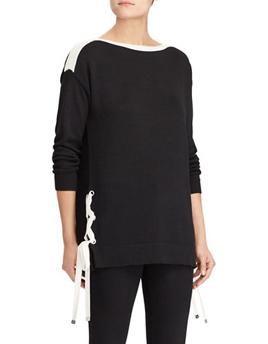 Lauren Ralph Lauren Lace-Up Boatneck Sweater-BLACK-Medium