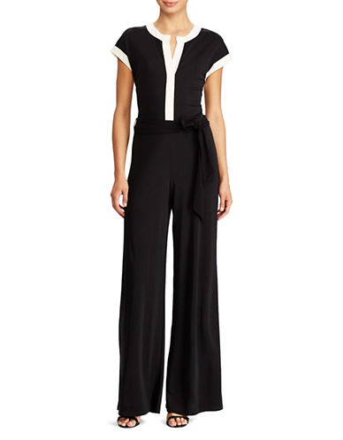 Lauren Ralph Lauren Two-Tone Jersey Jumpsuit-BLACK-X-Large