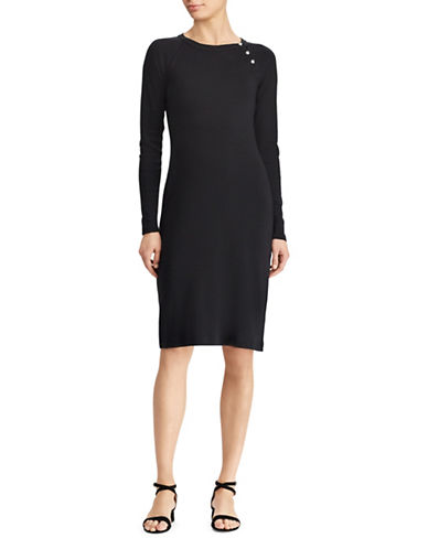 Lauren Ralph Lauren Button-Trim Cotton Dress-BLACK-X-Large