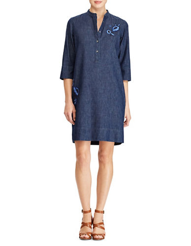 Lauren Ralph Lauren Embroidered Denim Dress-BLUE-16