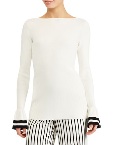 Lauren Ralph Lauren Striped-Cuff Sweater-WHITE-Medium