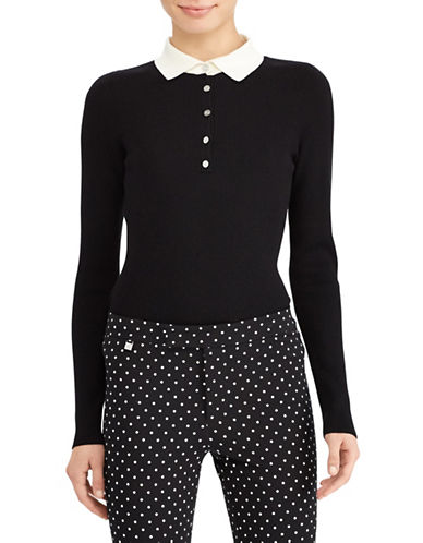 Lauren Ralph Lauren Contrast-Collar Sweater-BLACK-X-Large