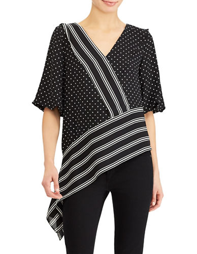 Lauren Ralph Lauren Printed Asymmetric Georgette Top-BLACK-X-Small