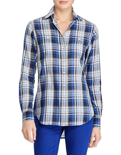 Lauren Ralph Lauren Plaid Twill Button-Down Shirt-NAVY-Medium