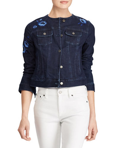 Lauren Ralph Lauren Floral Embroidered Denim Jacket-BLUE-Small