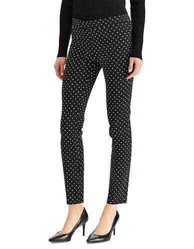 Lauren Ralph Lauren Polka Dot Mid-Rise Skinny Pants-BLACK-10
