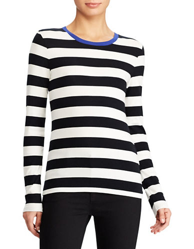 Lauren Ralph Lauren Contrast Collar Striped Tee-WHITE-Small