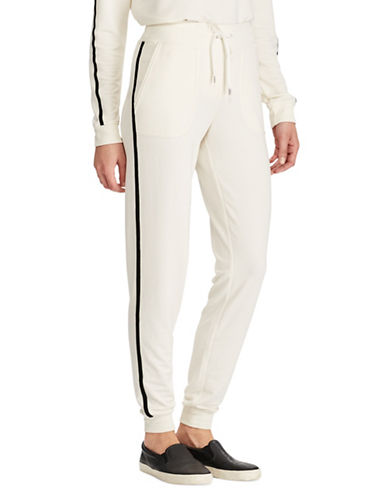 Lauren Ralph Lauren Tuxedo Stripe Jogger Pants-NATURAL-Large