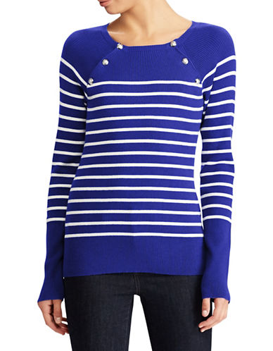 Lauren Ralph Lauren Striped Crew Neck Sweater-BLUE-X-Small